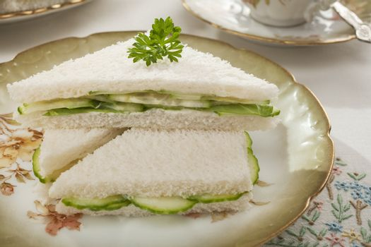 Cucumber Sandwiches on Old Fashioned Crockery