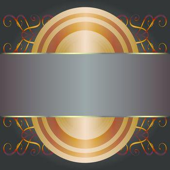 Gold frames decorative label illustration. Vector vintage set