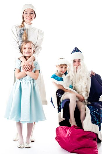 Santa Claus, a granddaughter and a beautiful little girl