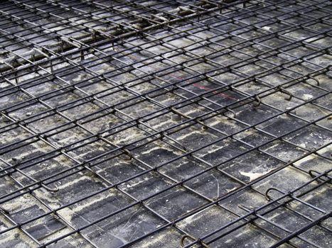 Reinforcement metal framework for concrete pouring.