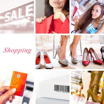 Shopping collage. Concept composed of different images that made in shop