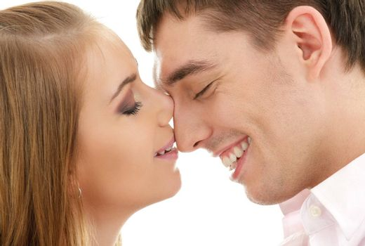 picture of couple in love over white