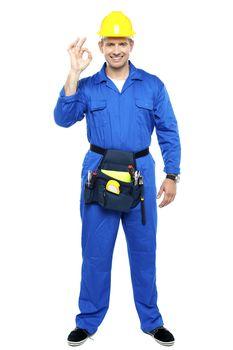 Keep up the good work. Repairman gesturing