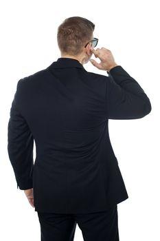 Bodyguard listening to vital information carefully