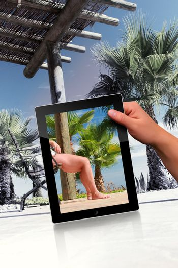 Faked relaxation scene with palm and tablet pc