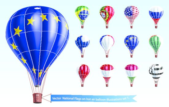 Vector  National Flags on hot air balloon illustrations set 1