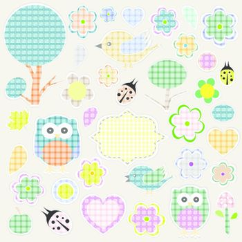 Nature textile stickers set. animals and flowers