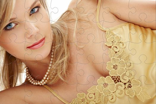 mysterious blue-eyed blond in pearls puzzle