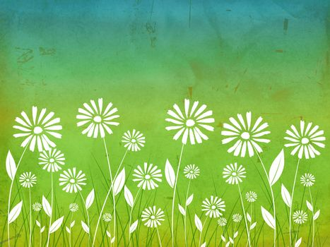 spring flowers white daisy over green old paper background