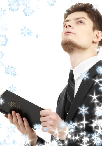 man with holy bible