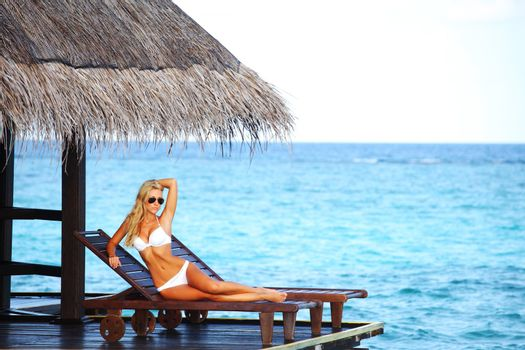woman on lounge
