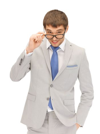 happy businessman in spectacles