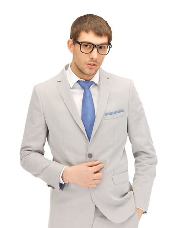calm businessman in spectacles