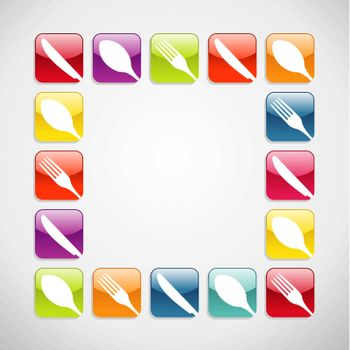 Rounded square cutlery web icons background
