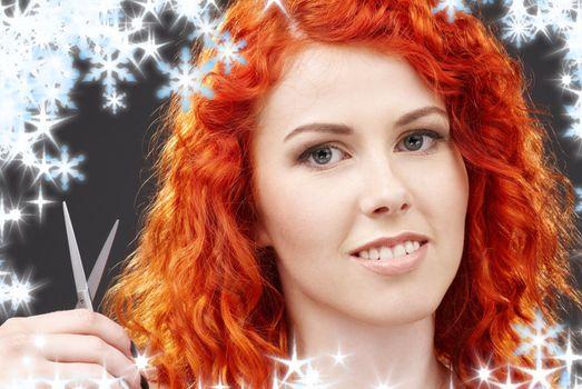 redhead with scissors