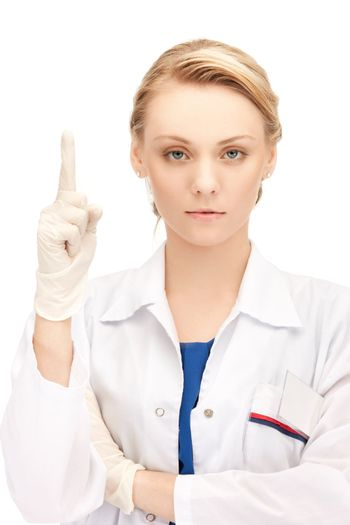 female doctor with her finger up