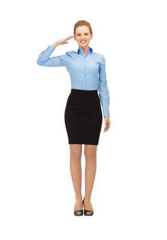 stewardess making salute gesture