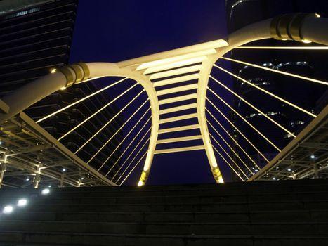 BANGKOK -JUNE 20: Night view of Sathorn-Narathiwas Intersection
