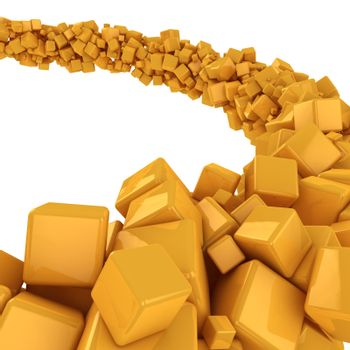 Flow of many yellow cubes on the white background