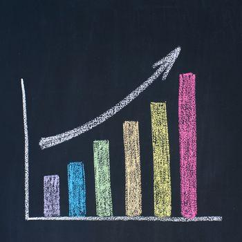 Bar graph of growth, drawn on a blackboard