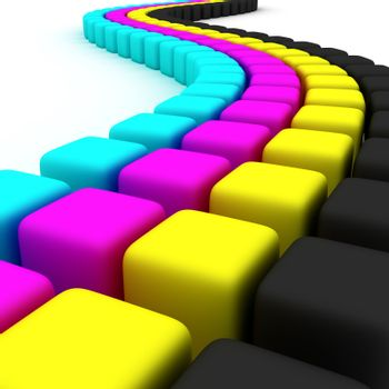 Winding strip of CMYK cubes on white