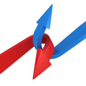 Blue and red arrows connecting on the white background