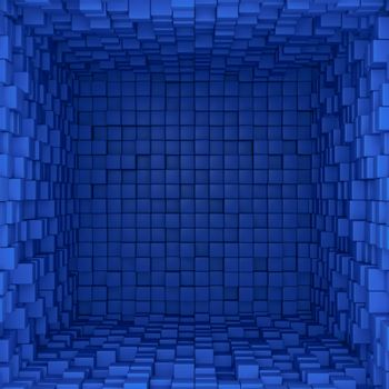 Inside of a box with blue tiled surfaces