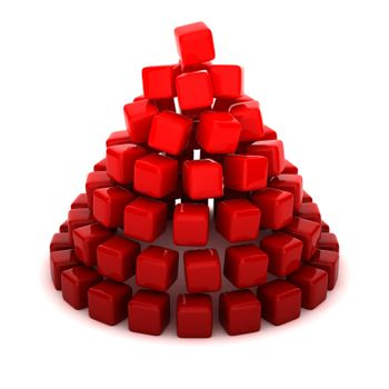 Cone shaped by red cubes
