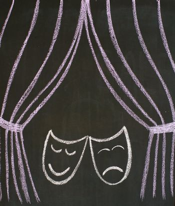 Comedy and tragedy masks at the theatre, drawn on a blackboard