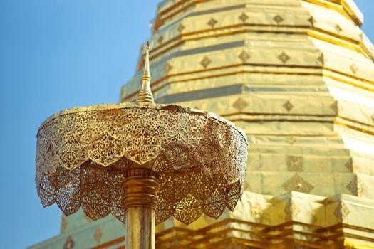 Golden stupa in Wat Doi Suthep, Chiang Mai, Thailand