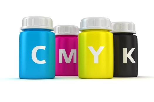 Four bottles with paint of cmyk colors