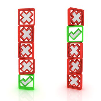 Columns of green ticks and red crosses