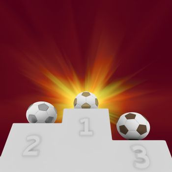 Soccer balls on a pedestal of winners