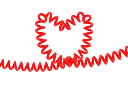 Red spiral in shape of heart isolated on white