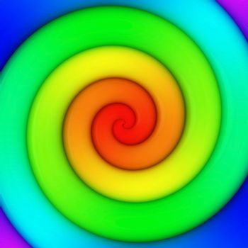 Abstract background of vibrant rainbow spiral swirl