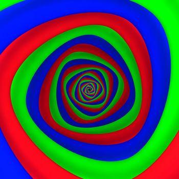 Triangular vortex of red, blue, green colors