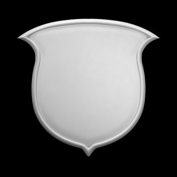 White blank shield, clay render, isolated on black
