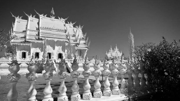 Wat Rong Khun is a contemporary unconventional Buddhist temple in Chiang Rai, Chiangmai province, Thailand. It is designed in white color.