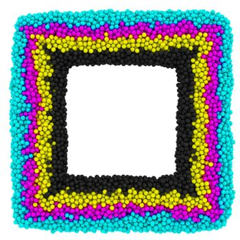 CMYK square frame isolated on the white background