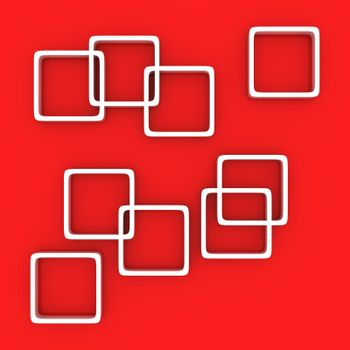 White squares on the red background
