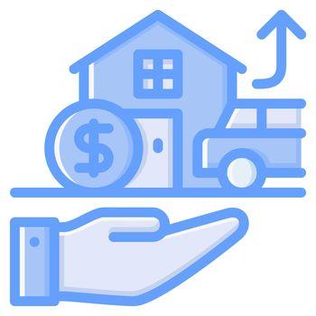Asset icon design blue style