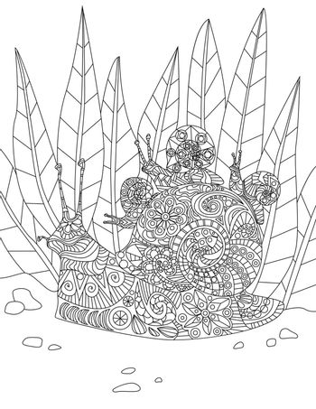 Illustration Of Dedicated Mother Snail Carrying Her Little Babies On Thier Home From Forest. Hardworking Parent Slug Line Drawing Bringing Young One To A House.