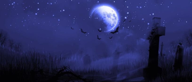 Horror background with full moon in the darkness.