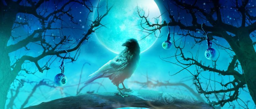Horror background with scary crow in the darkness