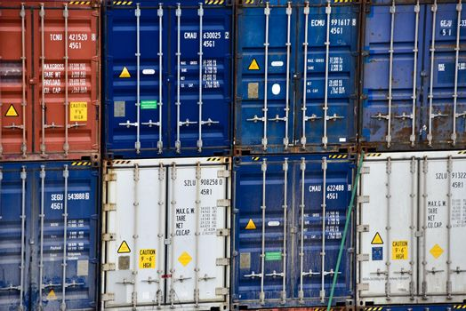 Stack of Freight shipping containers at the docks