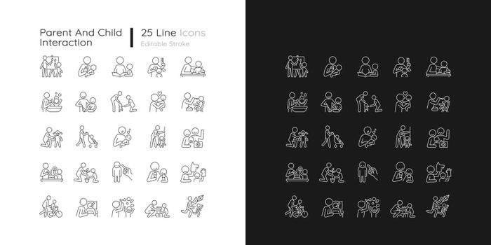 Parent and child interaction linear icons set for dark and light mode
