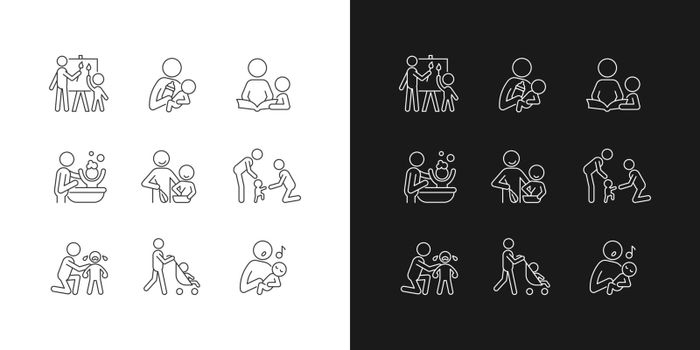 Responsible parenthood linear icons set for dark and light mode