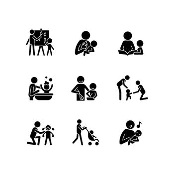 Responsible parenthood black glyph icons set on white space