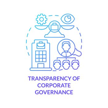 Transparency of corporate governance blue gradient concept icon