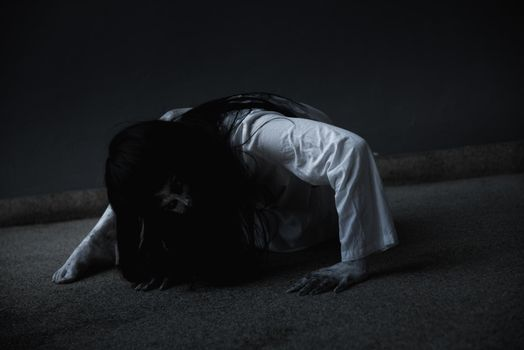 Woman ghost horror creepy her is crawling,